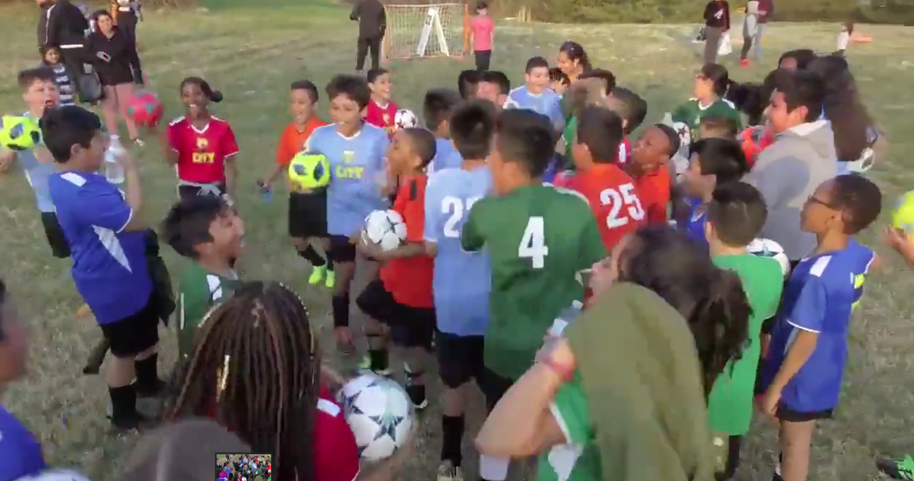 Kids at a soccer camp
